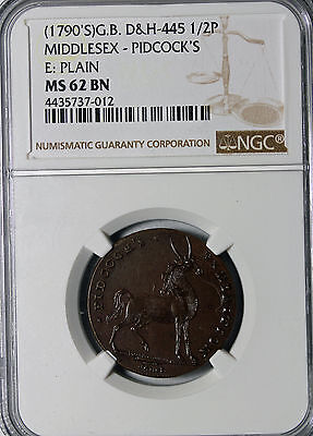 Middlesex Pidcock's Exhibition Halfpenny Conder Token D&H-445 NGC Graded MS62