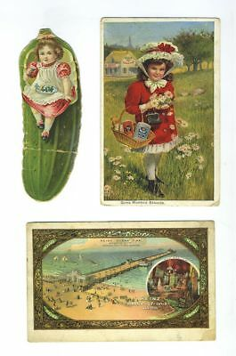 Lot (3) Early Heinz 57 Advertising Trade Cards Postcard NJ PA Pickle bv2013