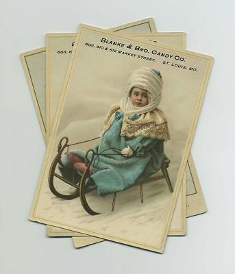 (3) 1800's Advertising Trade Cards Blanke Bro Candy St Louis MO Missouri bv2059