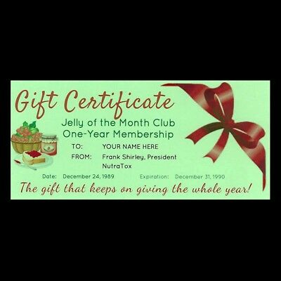 """""""JELLY OF THE MONTH CLUB"""" CERTIFICATE Christmas Vacation CLARK GRISWOLD prop"""