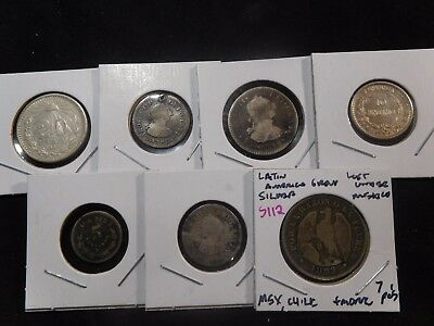 INV #S112 Latin America Silver Group Mexico, Chile, & More Group 7 Pieces