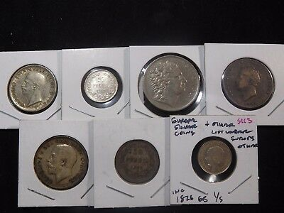 INV #S113 Europe Silver Coins & Others Group 7 Pieces Inc. 1826 GB Shilling