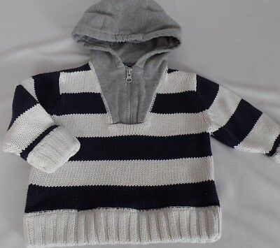 Baby Gap Toddler Boys 2 Years 2T Striped 1/4 zip Hooded Knit Sweater EUC