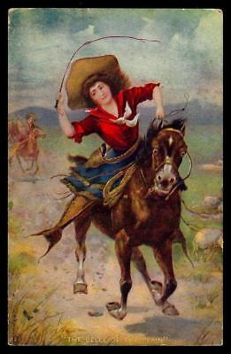 "1¢ Wonder's ~ Postcard W/ Cowgirl Riding Horse ""the Belle Of The Plain"" ~ C806"