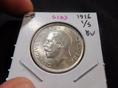 INV #S133 Great Britain 1916 Shilling BU