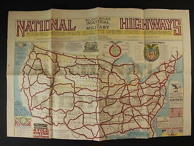 1928 FOUR WAY MOTOR WAYS NATIONAL HIGHWAYS ROAD MAP (Third Edition)