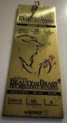 Disney Gold Metal Ticket Collectible Beauty and the Beast Musical on Broadway