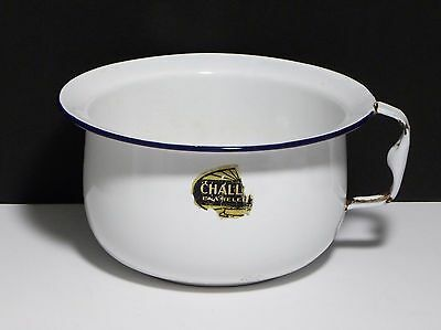 "Vintage White Enamel Metal Chamber Pot w/Handle Blue Trim 7"" Diameter x 4.5"" Hi"