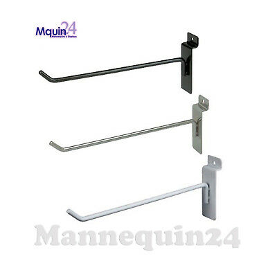 "Slatwall Hooks for Slat Wall, 6"" - Black White or Chrome - FREE SHIPPING"