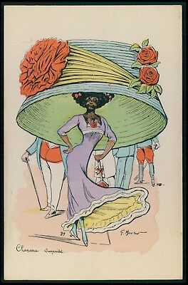 art Georges Mouton Exaggeration Big Hat fashion Black americana 1910s postcard