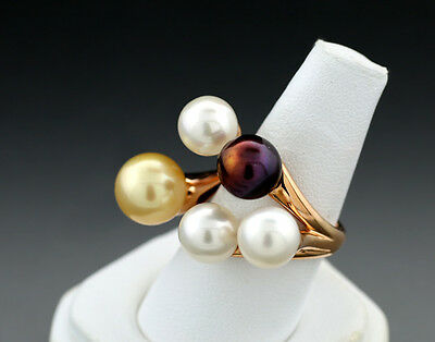 Floating Pearl Ring with Golden South See Pearl 750 Red Gold Value 37381