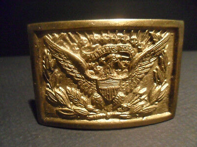 Antique Vintage Style Civil War Belt Buckle Plate SOLID Brass American Eagle