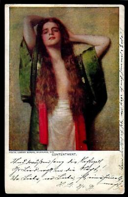 """1¢ Wonder's ~ Risque Lady Early """"1905"""" Postcard W/ """"contentment"""" ~ C820"""