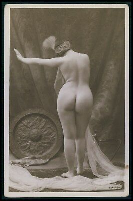 French nude woman Big Butt harem water Pipe original c1910-1920s photo postcard