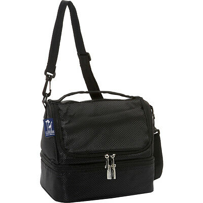 Wildkin Rip-Stop Black Two Compartment Lunch Bag Travel Cooler NEW