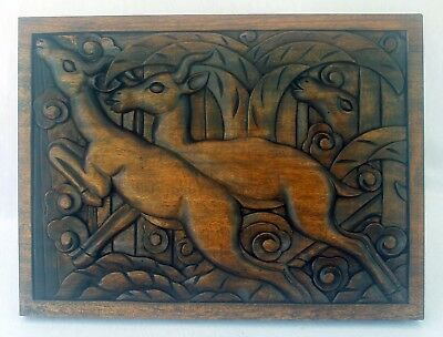 Fantastic Art Deco Panel Stylized Deer Nature Relief Carved Wood