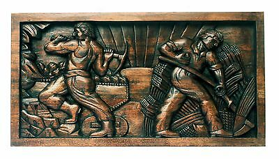 Fantastic Relief Carved Wood Art Deco Stylized Work Figures Communist Era