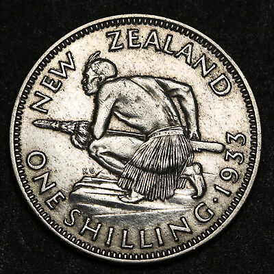 1933 New Zealand Shilling KM# 3 George V Silver Coin