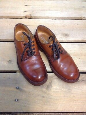 Pair Of Vintage Mens Trickers Shoes UK Size 7? Tan Full Leather