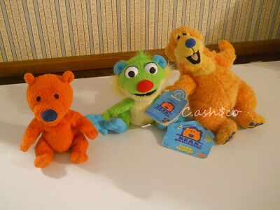 Bear in The Big Blue House Ojo Treelo & Bear plush bean bags mini lot of 3