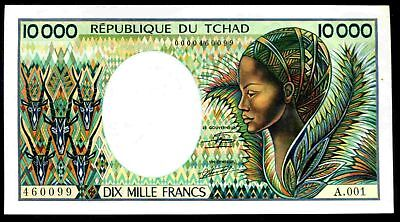 Chad, 10,000 Francs, 1st series,  A.001 460099. (1984), Nearly Extremely Fine.