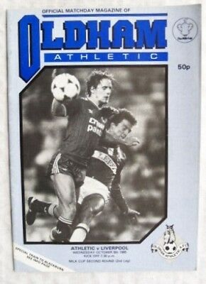 1985 programme Oldham Athletic v. Liverpool, League Cup