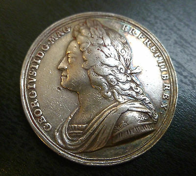 George II Official Silver Coronation Medallion 1727 By J. Croker Rare