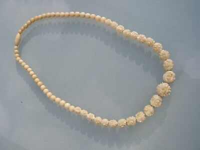 "Antique Chinese Handmade Bovine Bone Graduating Flower Beads Necklace18""long Vgc"