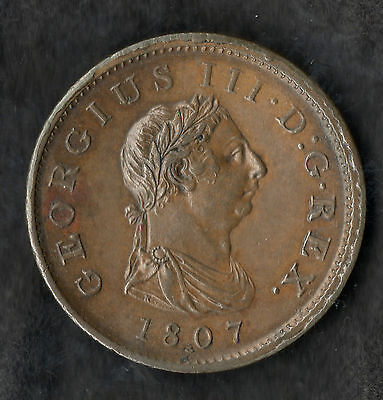 1807 George III Large Copper Penny Near Uncirculated