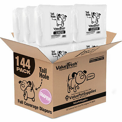 ValueWrap Disposable Diapers for Dogs, Large/X-Large 144ct (12 x 12ct)