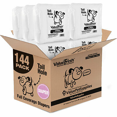 Diapers for Dogs (Non-Wrap) by ValueWrap, Medium, 144ct