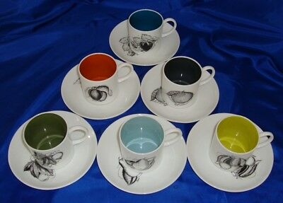 Susie Cooper BLACK FRUIT Coffee Cup Set
