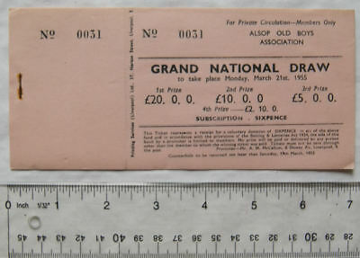 1955 book of Grand National Draw tickets Alsop Old Boys Association