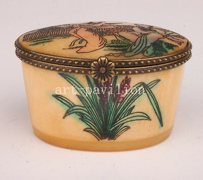 Cattle Bone Box Handmade Painting Orchid Belle Handicraft Gift Collection