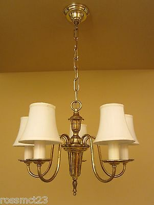 Vintage Lighting 1930s Colonial Revival brass chandelier