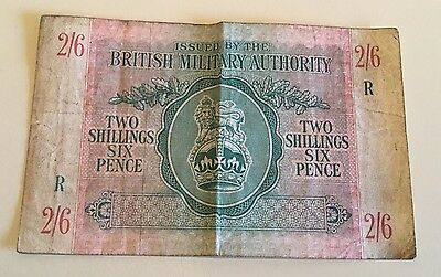 BRITISH MILITARY  TWO SHILLINGS & SIX PENCE BANKNOTE ~ £4.95 Start