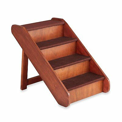 Large Wood Stairs for Dog Cat in Walnut Folding Side Rails Easy Fold Storage Pet