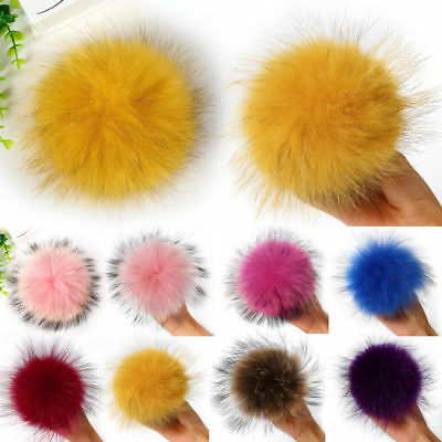 11cm Multicolor Raccoon Fur Fluffy Pom Pom Ball with Snap Button Hat Accessories
