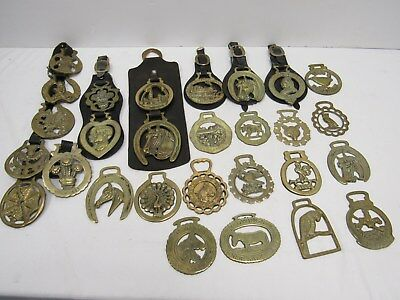 Job Lot of 28 Assorted Decorative Brass Horse Brasses - CLE L72