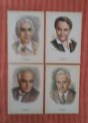 Russia USSR Peoples of Art - Herous of Socialist Labor 4 Poscards