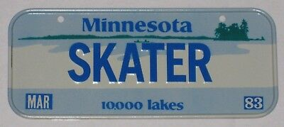 "Minnesota ""skater"" - Bicycle License Plate - 1983 - Cereal Premium"