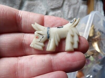 Vintage Early Celluloid / Plstic White Painted Scottie Dog Art Deco G440-23