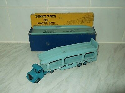 DINKY TOYS No 582 Car Transporter &994 Loading Ramp.ORIGINAL AS FOUND Part Boxed