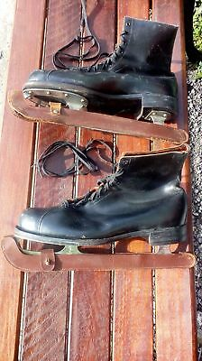Vintage Collectible Black Lace-up Ice Skates (Size 10)