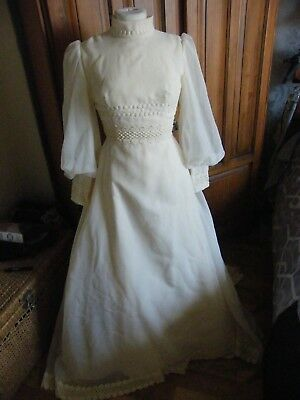 Vintage 1960's/ 1970's Wedding Dress In Cream With Veil -