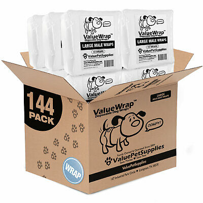 ValueWrap Disposable 2-Tab Male Wraps for Dogs, Large 144ct (12 x 12ct)
