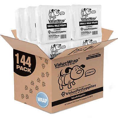 ValueWrap Disposable 2-Tab Male Wraps for Dogs, Small 144ct (12 x 12ct)