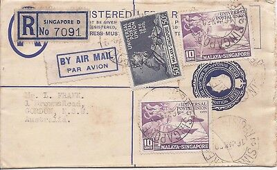 Singapore 1950 20c registration envelope uprated to Australia