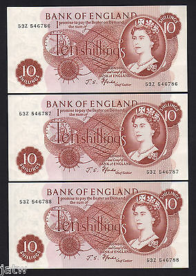 GREAT BRITAIN P-373c. (1966-70) 10 Shillings. Fforde.. CONSECUTIVE Trio.  aU-UNC