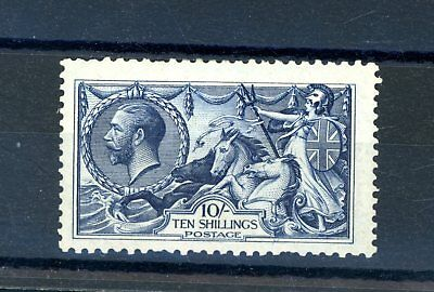 Great Britain 1913  Waterlow  10s  (SG 402) Seahorse, Indigo Blue L.H.M (O1308)